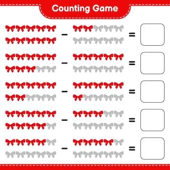Zählen sie das spiel, zählen sie die anzahl der bänder und schreiben sie das ergebnis. pädagogisches kinderspiel