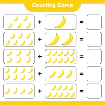 Zählen sie das spiel, zählen sie die anzahl der bananen und schreiben sie das ergebnis.