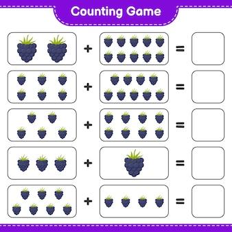 Zählen sie das spiel, zählen sie die anzahl der brombeeren und schreiben sie das ergebnis.