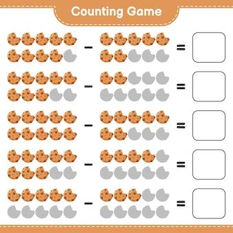 Zählen sie das spiel, zählen sie die anzahl der cookies und schreiben sie das ergebnis. pädagogisches kinderspiel