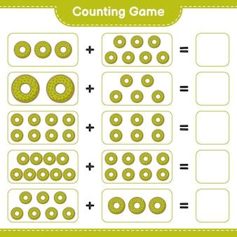 Zählen sie das spiel, zählen sie die anzahl der donuts und schreiben sie das ergebnis. pädagogisches kinderspiel, druckbares arbeitsblatt, illustration