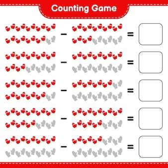 Zählen sie das spiel, zählen sie die anzahl der fäustlinge und schreiben sie das ergebnis. pädagogisches kinderspiel