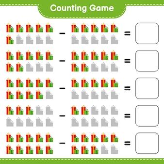 Zählen sie das spiel, zählen sie die anzahl der geschenkboxen und schreiben sie das ergebnis. pädagogisches kinderspiel