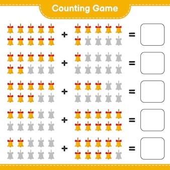 Zählen sie das spiel, zählen sie die anzahl der goldenen weihnachtsglocken und schreiben sie das ergebnis. pädagogisches kinderspiel, druckbares arbeitsblatt
