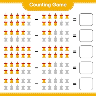 Zählen sie das spiel, zählen sie die anzahl der goldenen weihnachtsglocken und schreiben sie das ergebnis. pädagogisches kinderspiel
