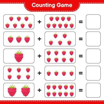 Zählen sie das spiel, zählen sie die anzahl der himbeeren und schreiben sie das ergebnis.