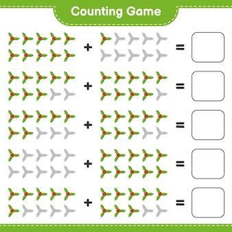 Zählen sie das spiel, zählen sie die anzahl der holly berries und schreiben sie das ergebnis. pädagogisches kinderspiel, druckbares arbeitsblatt