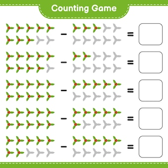 Zählen sie das spiel, zählen sie die anzahl der holly berries und schreiben sie das ergebnis. pädagogisches kinderspiel