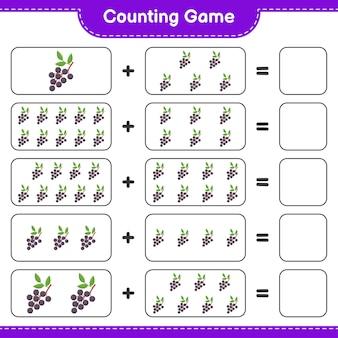Zählen sie das spiel, zählen sie die anzahl der holunder und schreiben sie das ergebnis.