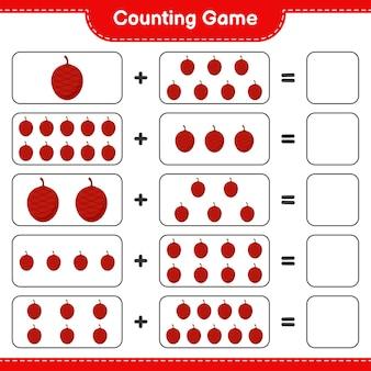 Zählen sie das spiel, zählen sie die anzahl der ita-palmen und schreiben sie das ergebnis.