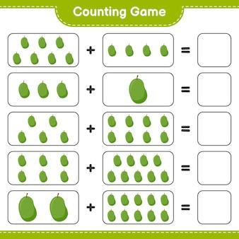 Zählen sie das spiel, zählen sie die anzahl der jackfrüchte und schreiben sie das ergebnis.