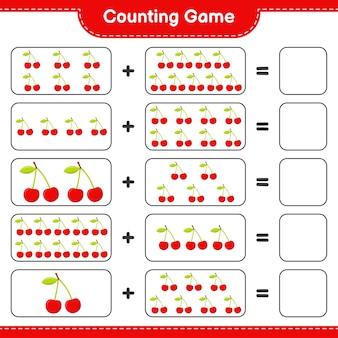 Zählen sie das spiel, zählen sie die anzahl der kirschen und schreiben sie das ergebnis.