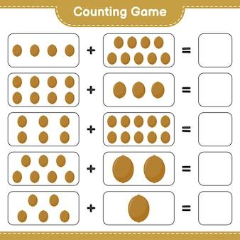 Zählen sie das spiel, zählen sie die anzahl der kiwis und schreiben sie das ergebnis.