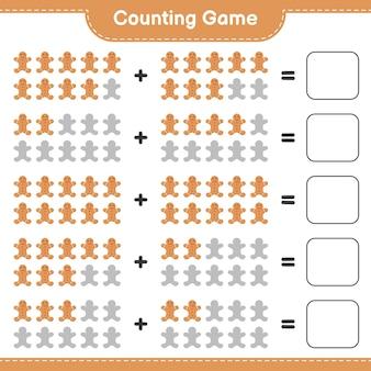 Zählen sie das spiel, zählen sie die anzahl der lebkuchenmänner und schreiben sie das ergebnis. pädagogisches kinderspiel, druckbares arbeitsblatt