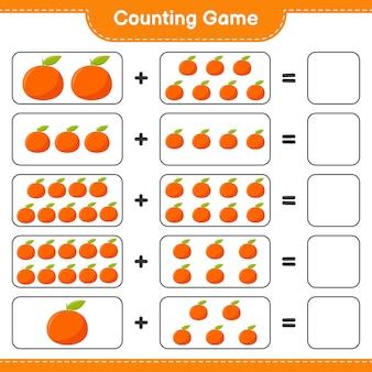 Zählen sie das spiel, zählen sie die anzahl der mandarinen und schreiben sie das ergebnis.