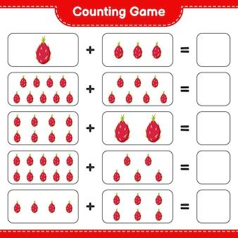 Zählen sie das spiel, zählen sie die anzahl der pitaya und schreiben sie das ergebnis.