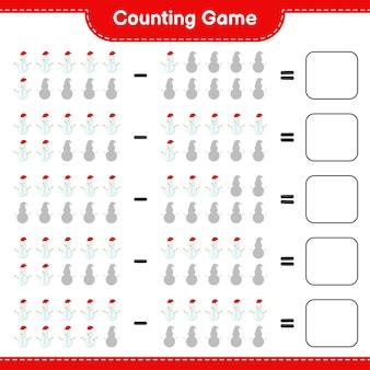 Zählen sie das spiel, zählen sie die anzahl der schneemänner und schreiben sie das ergebnis. pädagogisches kinderspiel
