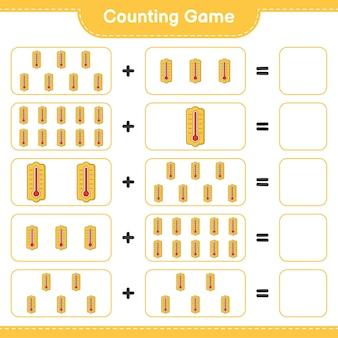 Zählen sie das spiel, zählen sie die anzahl der thermometer und schreiben sie das ergebnis. pädagogisches kinderspiel, druckbares arbeitsblatt, illustration