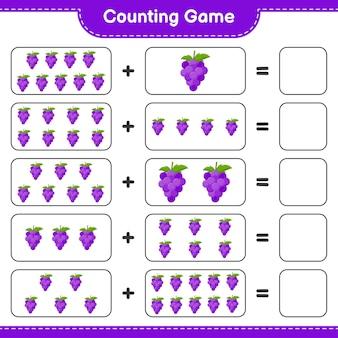 Zählen sie das spiel, zählen sie die anzahl der trauben und schreiben sie das ergebnis.