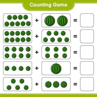 Zählen sie das spiel, zählen sie die anzahl der wassermelonen und schreiben sie das ergebnis.