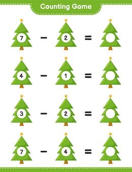Zählen sie das spiel, zählen sie die anzahl der weihnachtsbäume und schreiben sie das ergebnis. pädagogisches kinderspiel, druckbares arbeitsblatt