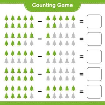 Zählen sie das spiel, zählen sie die anzahl der weihnachtsbäume und schreiben sie das ergebnis. pädagogisches kinderspiel