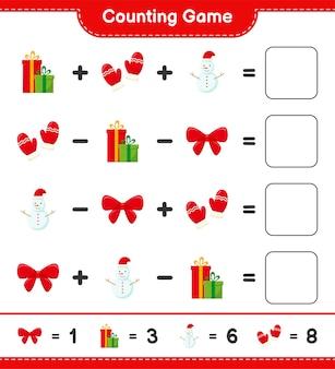 Zählen sie das spiel, zählen sie die anzahl der weihnachtsdekorationen und schreiben sie das ergebnis. pädagogisches kinderspiel