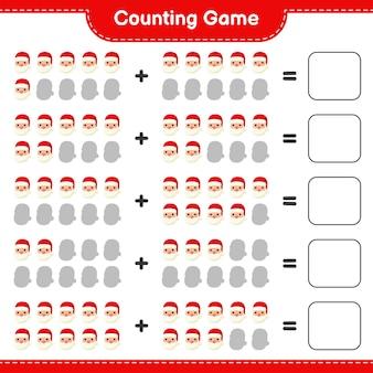 Zählen sie das spiel, zählen sie die anzahl der weihnachtsmänner und schreiben sie das ergebnis. pädagogisches kinderspiel, druckbares arbeitsblatt
