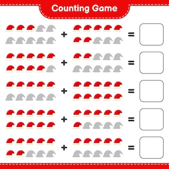 Zählen sie das spiel, zählen sie die anzahl der weihnachtsmützen und schreiben sie das ergebnis. pädagogisches kinderspiel, druckbares arbeitsblatt