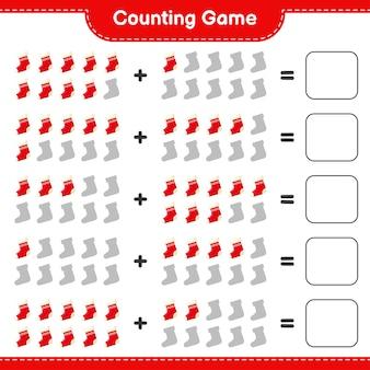 Zählen sie das spiel, zählen sie die anzahl der weihnachtssocken und schreiben sie das ergebnis. pädagogisches kinderspiel, druckbares arbeitsblatt