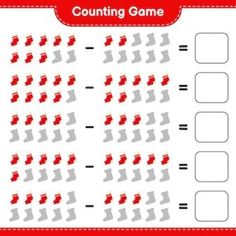 Zählen sie das spiel, zählen sie die anzahl der weihnachtssocken und schreiben sie das ergebnis. pädagogisches kinderspiel