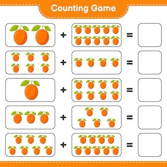 Zählen sie das spiel, zählen sie die anzahl der ximenia und schreiben sie das ergebnis.