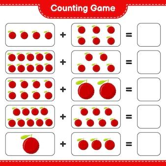Zählen sie das spiel, zählen sie die anzahl der yumberry und schreiben sie das ergebnis.