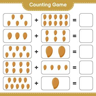 Zählen sie das spiel, zählen sie die anzahl der zapote und schreiben sie das ergebnis.