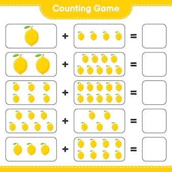 Zählen sie das spiel, zählen sie die anzahl der zitronen und schreiben sie das ergebnis.