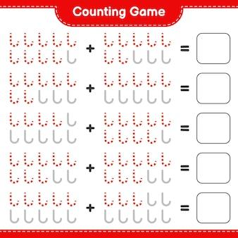 Zählen sie das spiel, zählen sie die anzahl der zuckerstangen und schreiben sie das ergebnis. pädagogisches kinderspiel, druckbares arbeitsblatt