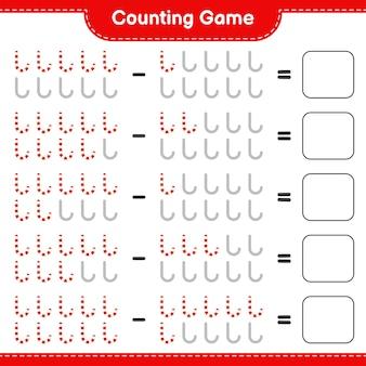 Zählen sie das spiel, zählen sie die anzahl der zuckerstangen und schreiben sie das ergebnis. pädagogisches kinderspiel