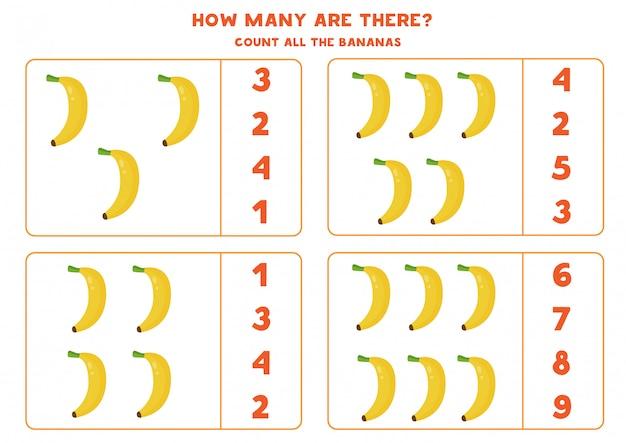 Zählen sie die anzahl der cartoon-bananen. bildungsarbeitsblatt.
