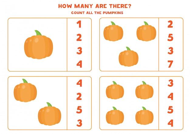 Zählen sie die anzahl der kürbisse und kreisen sie die richtige antwort ein. pädagogisches mathe-spiel für kinder. lustiges arbeitsblatt für kinder im vorschulalter.