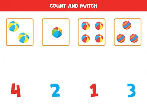 Zählen sie die anzahl der spielzeugkugeln und stimmen sie mit den richtigen zahlen überein. pädagogisches mathe-spiel für kinder. druckbares arbeitsblatt zum lernen von zahlen.