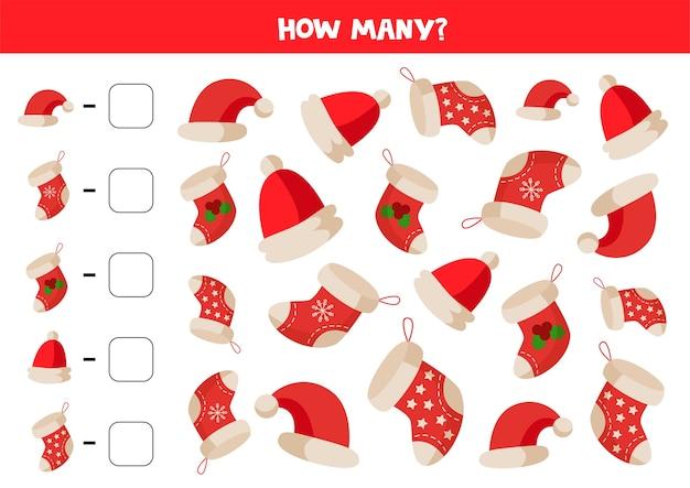 Zählen sie die anzahl der weihnachtssocken und -hüte. pädagogisches mathe-spiel für kinder.
