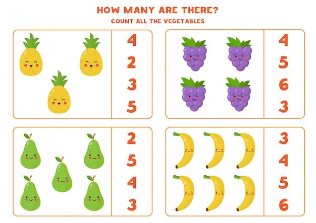 Zählen sie die menge der niedlichen kawaii früchte.