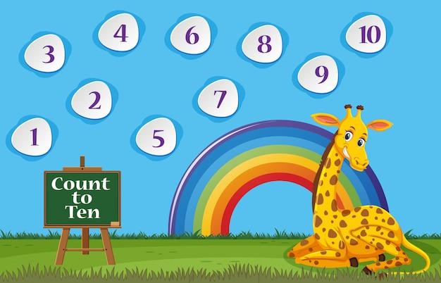 Zählen sie die nummer eins bis zehn, während die giraffe auf dem feld sitzt