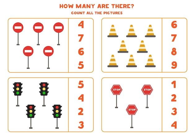 Zählen sie die verkehrszeichen und kreisen sie die richtigen antworten ein. mathe-spiel für kinder.