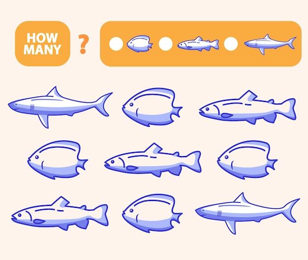 Zählen sie, wie viele fische ein lernspiel sind. mathematik aufgabenentwicklung des logischen denkens von kindern. zählen kleiner fischspiele für kinder im vorschulalter.