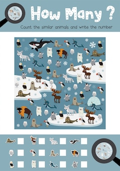 Zählen spiel der arktischen tiere