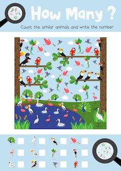 Zählen spiel von niedlichen vögeln tiere