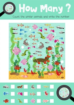 Zählen spiel von süßwassertieren