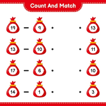 Zählen und abgleichen, die anzahl der weihnachtsmannbeutel zählen und mit den richtigen zahlen abgleichen. pädagogisches kinderspiel