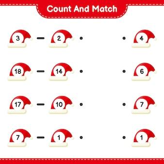 Zählen und abgleichen, die anzahl der weihnachtsmützen zählen und mit den richtigen zahlen abgleichen. pädagogisches kinderspiel